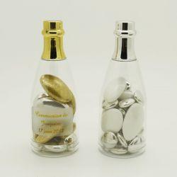 Dragées communion - Mini bouteille champagne dragees Or ou Argent X4