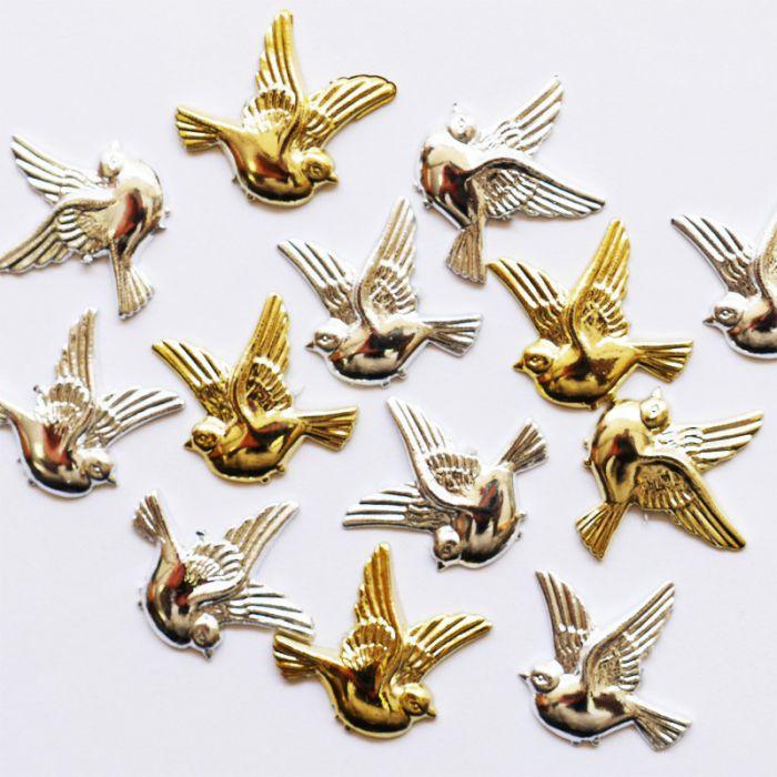 Colombes d co or ou argent x10 mini fleurs accessoires for Deco accessoires