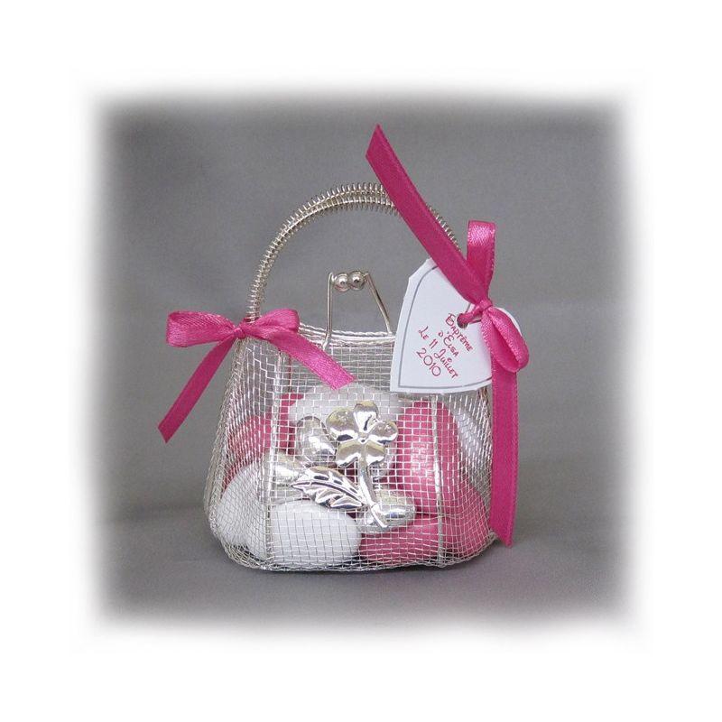 Dragées bapteme - Mini sac à main à dragées fer forgé