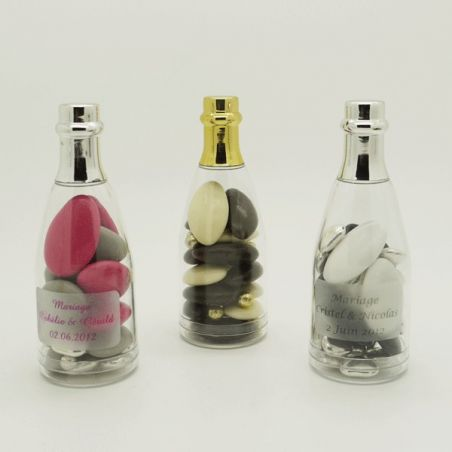 Dragées mariage - Mini bouteille champagne dragees Or ou Argent X4