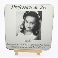 """Cadre photo - Miroir gravé Communion """"Texte + Photos"""""""