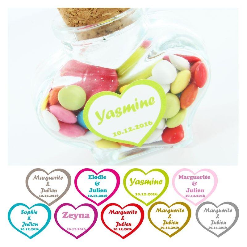 Etiquettes dragées autocollante sticker - Coeur