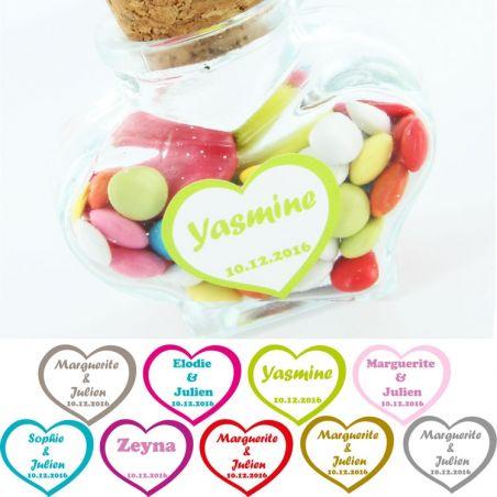 Etiquettes dragées autocollante sticker - Coeur X18