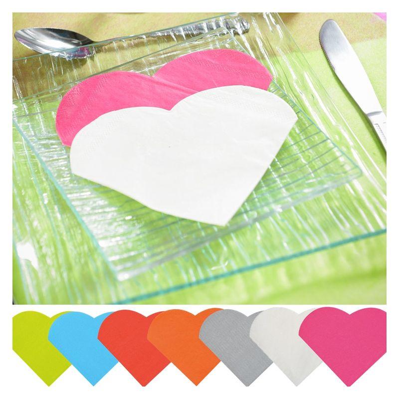 Serviette papier forme Coeur x20