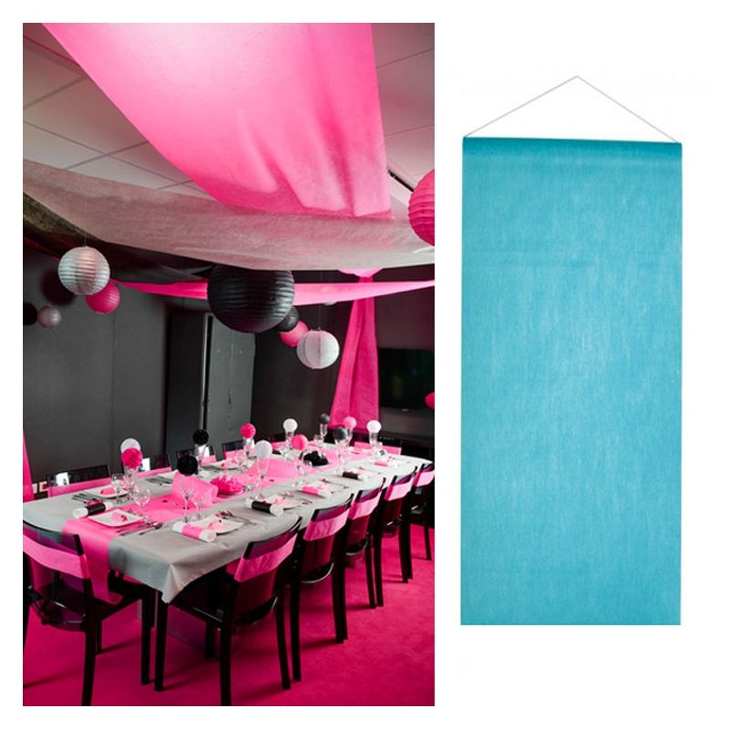 Tenture salle mariage pas cher 12m Bleu Turquoise