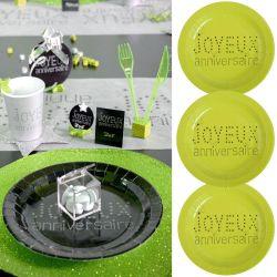 Assiette jetable Anniversaire (lot de 10) -Vert