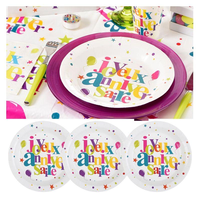 assiette carton joyeux anniversaire festif 10 assiettes jetables. Black Bedroom Furniture Sets. Home Design Ideas