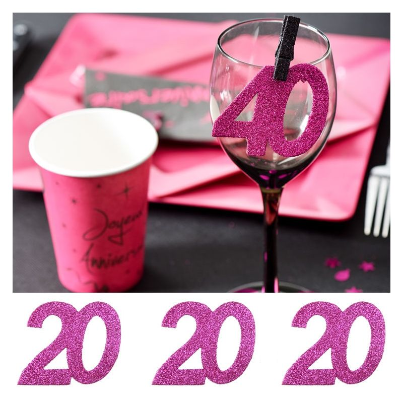 6 gros confetti anniversaire fuchsia 20 ans d coration de table. Black Bedroom Furniture Sets. Home Design Ideas