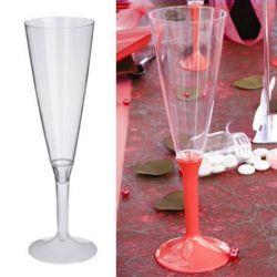 Flûte champagne plastique 13cl (10psc) - Transparent