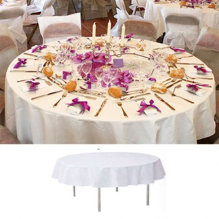 Nappe ronde blanche mariage 240cm
