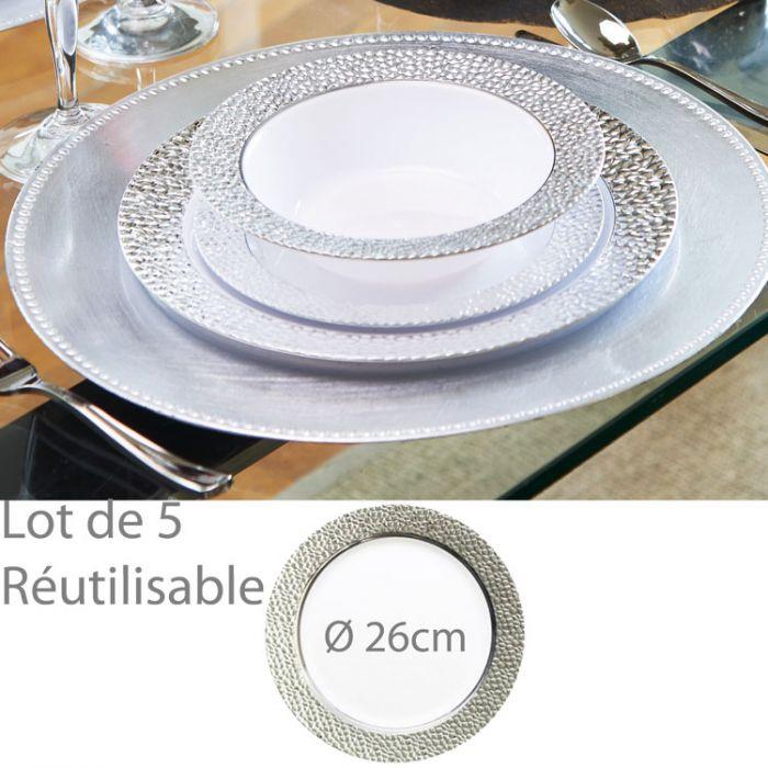 assiette plastique jetable reutilisable pretige 26cm les 5. Black Bedroom Furniture Sets. Home Design Ideas