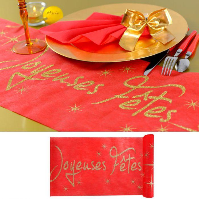 Chemin de table de f tes joyeuses f tes - Chemin de table rouge mariage ...