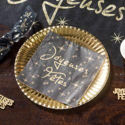 Serviette de table jetable Joyeuses fêtes Noir (20 pièces)