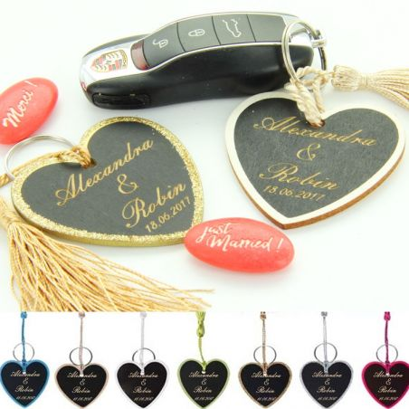 6 Etiquettes porte-clés Personnalisés en bois - Coeur