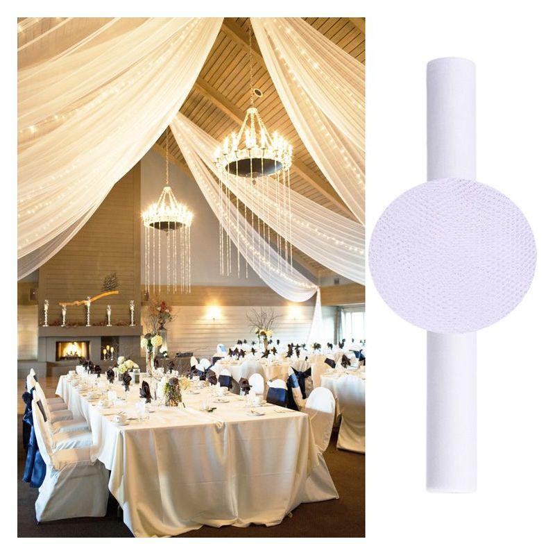 Tenture salle mariage en tulle 25m blanche