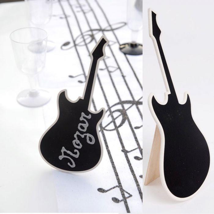 Guitare en ardoise centre de table pour nom de table h20cm for Decoration porte nom table