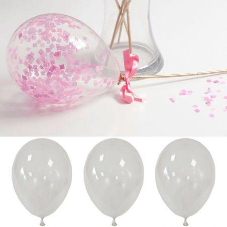 Ballons transparent à confetti 30cm (Les 10)