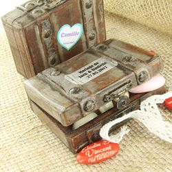 Boite dragées valise Vintage en bois