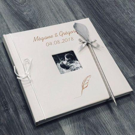 Livre d'or personnalisé / Album photo Cuir - Plume