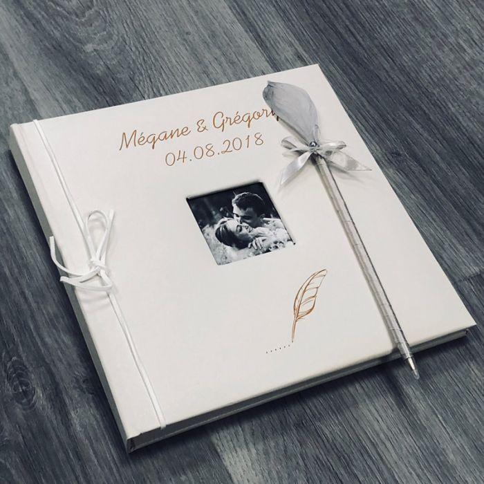 livre d 39 or mariage personnalis album photo cuir plume. Black Bedroom Furniture Sets. Home Design Ideas