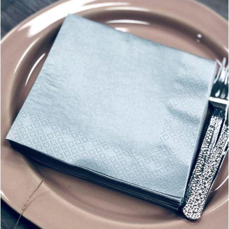 Serviette papier argentée 33x33cm (20 pièces)