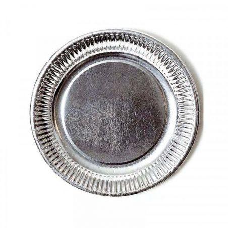 Assiette jetable Ø23cm Ronde (lot 8) - Argentée