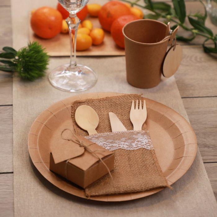 assiette jetable 23cm ronde en kraft lot de 10. Black Bedroom Furniture Sets. Home Design Ideas