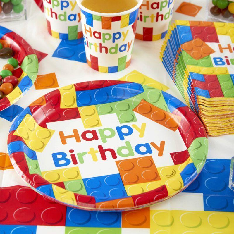 Assiette jetable anniversaire block party lot de 10