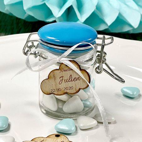 Mini Pot dragées Confiture Verre et Céramique - Bleu