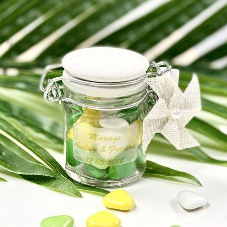 Mini Pot dragées Confiture Verre et Céramique - Blanc