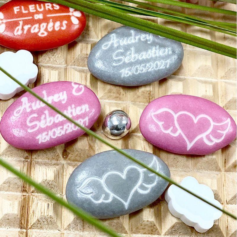 Dragées personnalisées mariage - cœur ailé