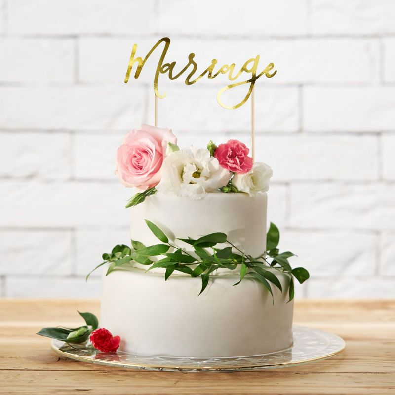 """Topper cake """"Mariage"""" or"""