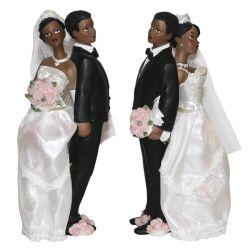 Couple mariés noir robe tissu